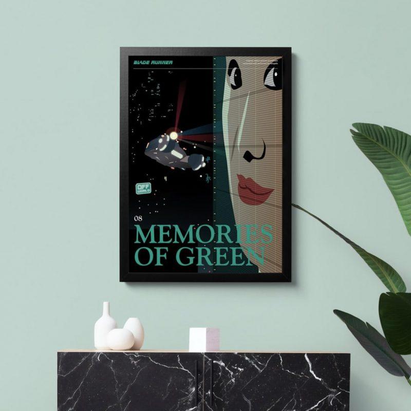 Blade Runner Poster - Memories of Green framed art print