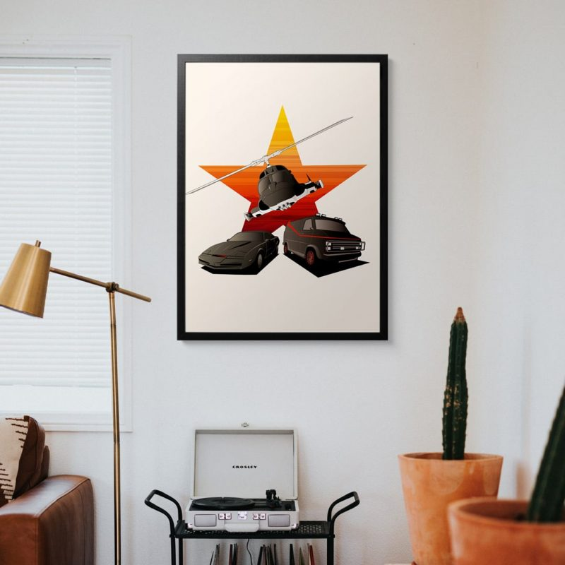 80's Heroes framed art print on wall